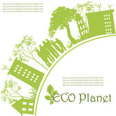 Green ecological planet — Stok Vektör
