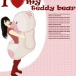 Girl with bear — Imagen vectorial