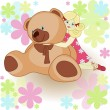 Beautiful card: girl with toy bear — Vector de stock #9921270