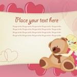 Valentine Girl Greeting Card — Stock Vector