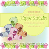 Beautiful card happy birthday — Vettoriale Stock