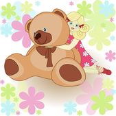 Beautiful card: the girl with a toy bear — Vector de stock