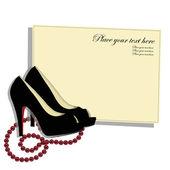Krásné boty s červenými korálky — Stock vektor