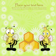 Royalty-Free Stock Vector Image: Beautiful postcard with bees and honey