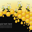 Postcard with a bee honeycombs — Vector de stock