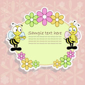 Beautiful postcard with bees — Stock Vector