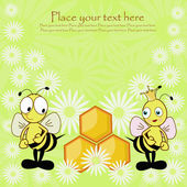 Beautiful postcard with bees and honey — Stockvector