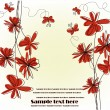 Festive card with red flowers — Stockvectorbeeld