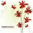Festive card with red flowers — Image vectorielle