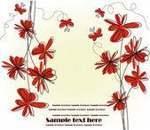 Festliche karte mit roten blüten — Stockvektor