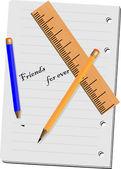 Sheet, pencil, ruler — Stock Vector