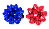 Blue and red bow — Stock Photo