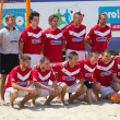 Foto de Stock  : Championship of Ukraine on beach football in Hydropark.