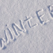 Writing text on the snow — Stock Photo