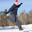 Royalty-Free Stock Photo: Man jumping in winter