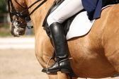 Human leg on horse — Stock Photo