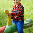 Boy on the seesaw — Stock Photo