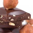 Chocolate and hazelnuts — Stock Photo