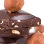 Chocolate and hazelnuts — Stock Photo