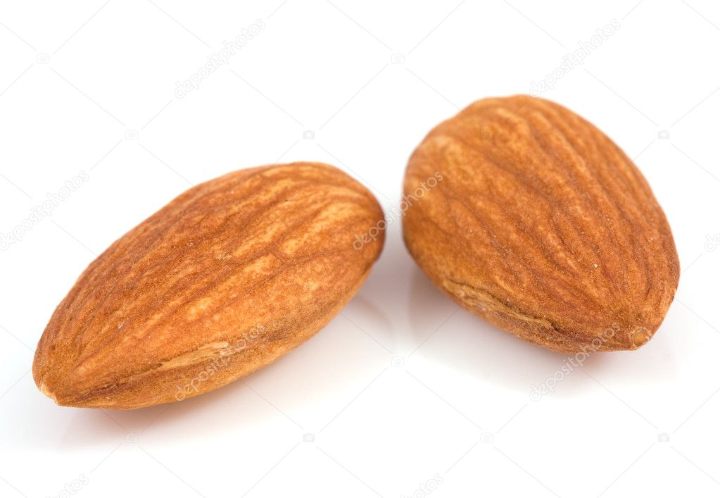 Macro almond isolated on a white — Stock Photo #8413137