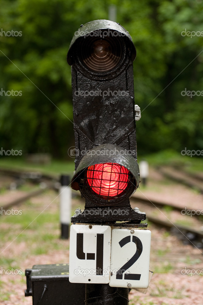 Railway signal on the red light — Stock Photo #8413272