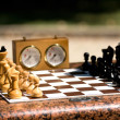Stock Photo: Chessboard with chess in a park