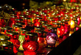 Burning candles lamps — Stock Photo