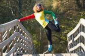 Girl doing exercise — Stock Photo