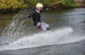Jumping kiteboarder — Stock Photo