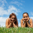 Girls on the meadow — Stock Photo