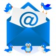 Blue Bird and e-mail — Stock Vector