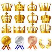 Crown and medals — Stock Vector