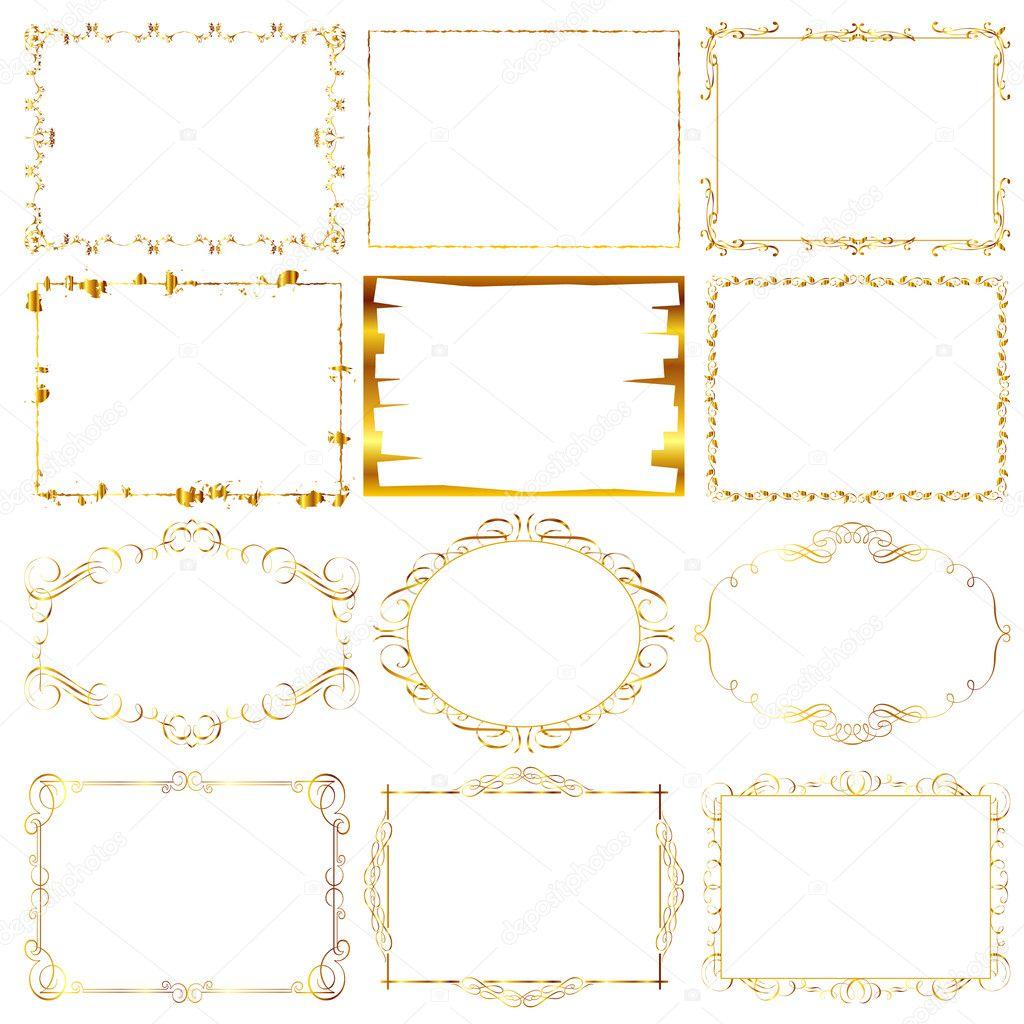 Marco dorado vector de stock 10476018 depositphotos - Marcos de fotos dorados ...