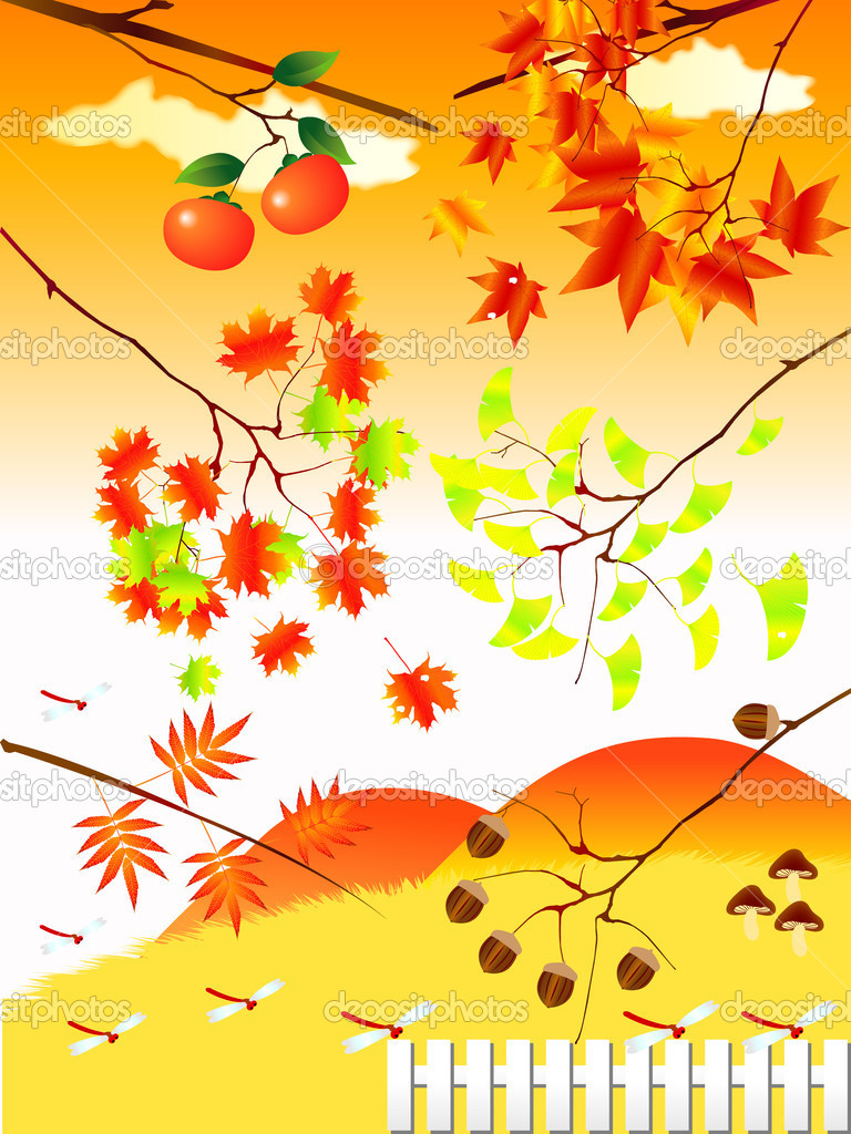 Landscape materials and taste autumn leaves — Stock Vector #7986408