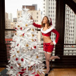 Beautiful Woman in Santa Outfit — Stockfoto