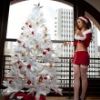 Beautiful Woman in Santa Outfit — ストック写真