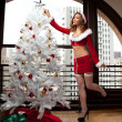 Stok fotoğraf: Beautiful Woman in Santa Outfit