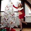 ストック写真: Beautiful Woman in Santa Outfit