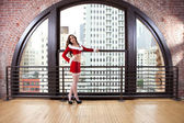 Beautiful Woman in Santa Outfit — Stock Photo