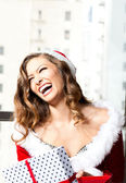 Christmas Laughter Beautiful Woman — Stock Photo