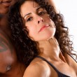 Muscular Man and Pretty Brunette Woman — Stock Photo #8165038