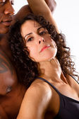 Muscular Man and Pretty Brunette Woman — Foto de Stock