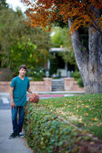 Handsome Teenager with Basketball — Stock Photo