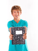 Teenager Holding Notebook — Foto de Stock