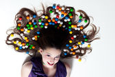 Pretty Girl with Candy Makeup — Stock Photo