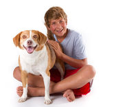 Teen and His Dog — Stock Photo