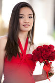 Pretty Girl in a red Dress — Stock Photo