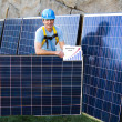 Handsome Mand Solar Panels — Stock Photo #8791797