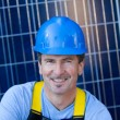 Handsome Man and Solar Panels — Stock Photo