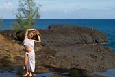 Pretty Woman in Kauai on a private Beach — Stock Photo
